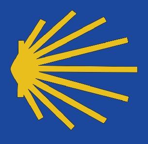 Eine gelbe stylisierte Jakobsmuschel auf blauen Grund