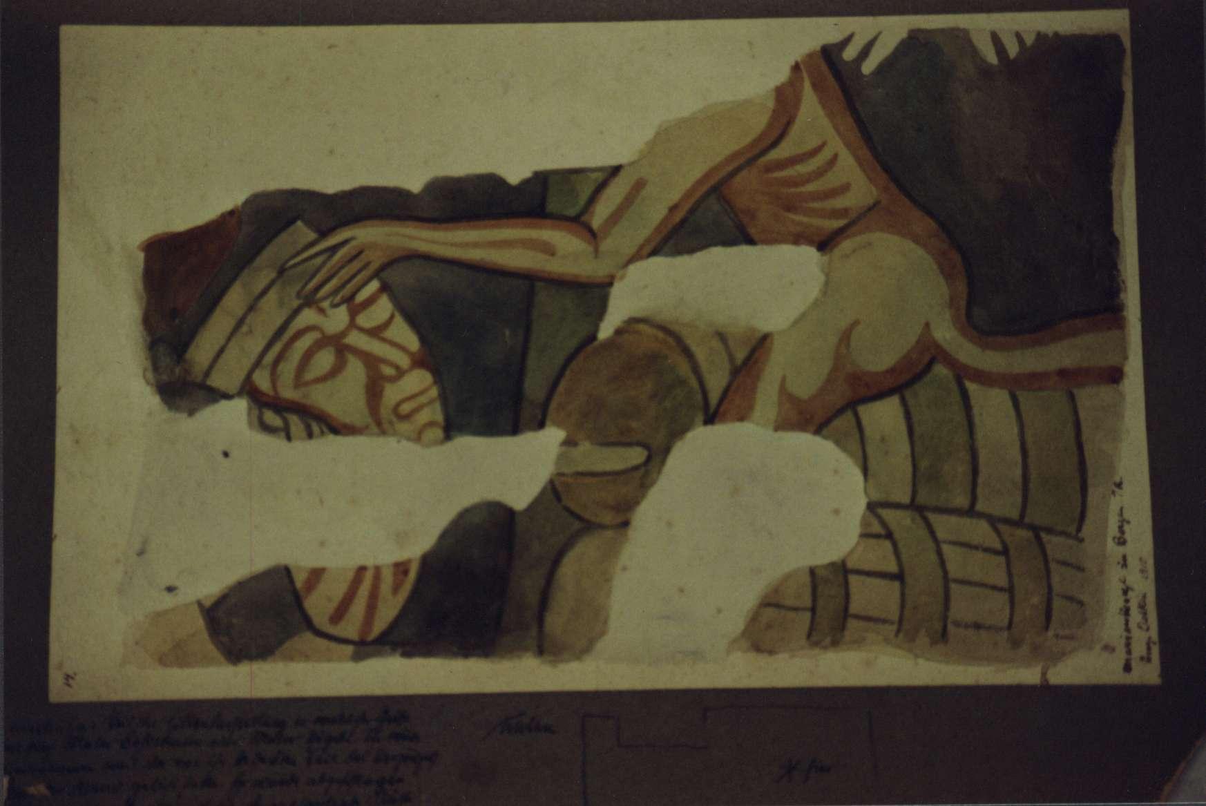 Darstellung eines Details aus der Hölle, auf Karton gezeichnet.