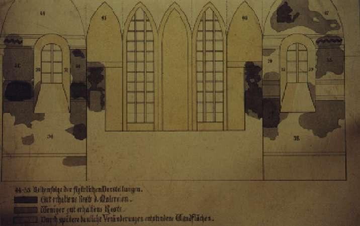 Zustand der Wandmalereien des Chores vor Restaurierung aufgezeichnet auf Karton